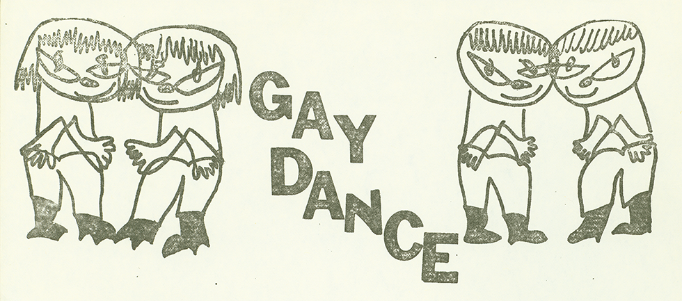 GayDance poster in black and white drawing